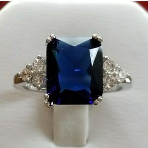5ct Blue &White Sapphire Ring Size 7